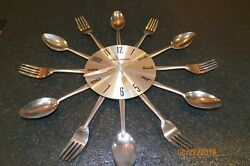 George Nelson Silver Tone Wall Clock Fork and Spoon Starburst 14.5