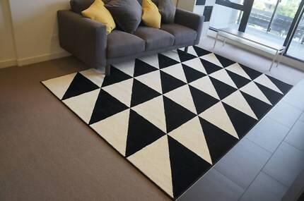 brand new large stylish ikea blackwhite rug move out sale