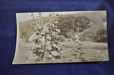 1924 RPPC Mrs. Coolidge in Garden Postcard