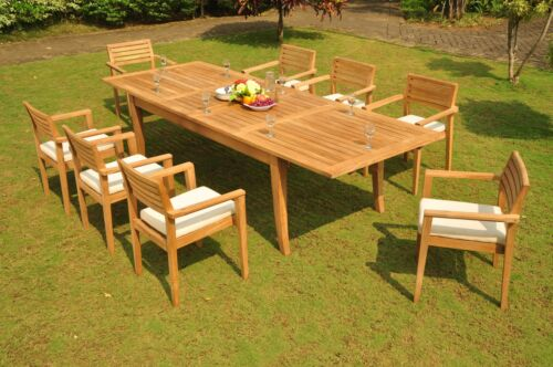 "9 PC TEAK OUTDOOR DINING SET 122"" ATNAS RECTANGLE TABLE + 8 MONT STACKING CHAIR"