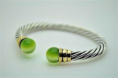 B321 Fashion Bracelet Silver 2 Tone Green Cat eye Cuff Rope Filigree Design