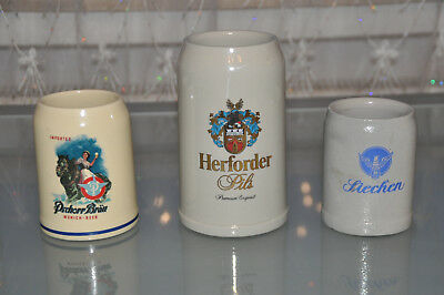 3 Stück Bierkrug Krüge Krug Bier Sammlung Bar Konvolut Liechen Pschorr Herforder