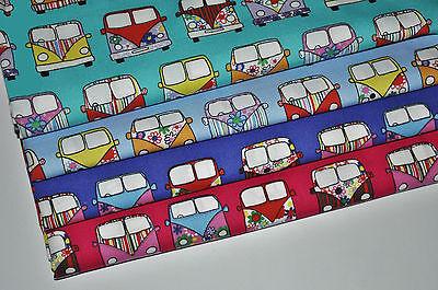 VW Camper Van Fabric 100% Cotton Material  Novelty Retro Design **FREE POSTAGE**