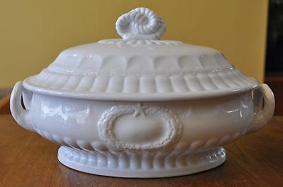 Antique White Ironstone Covered Vegetable Bowl Elsmore Forster Laurel Wreath