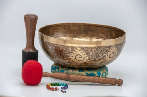 12 inches Diameter Mantra mandala carved handmade singing bowl-Master healing