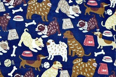 "BTY*HAPPY DOGS, TREATS, BOWLS, BALLS & BONES ON NAVY FLEECE FABRIC 1 YD 60X36"""