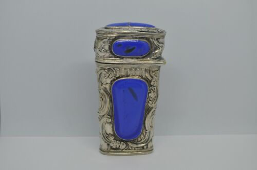 Antique Sterling Silver and Lapis Stone Etui Box with Tools