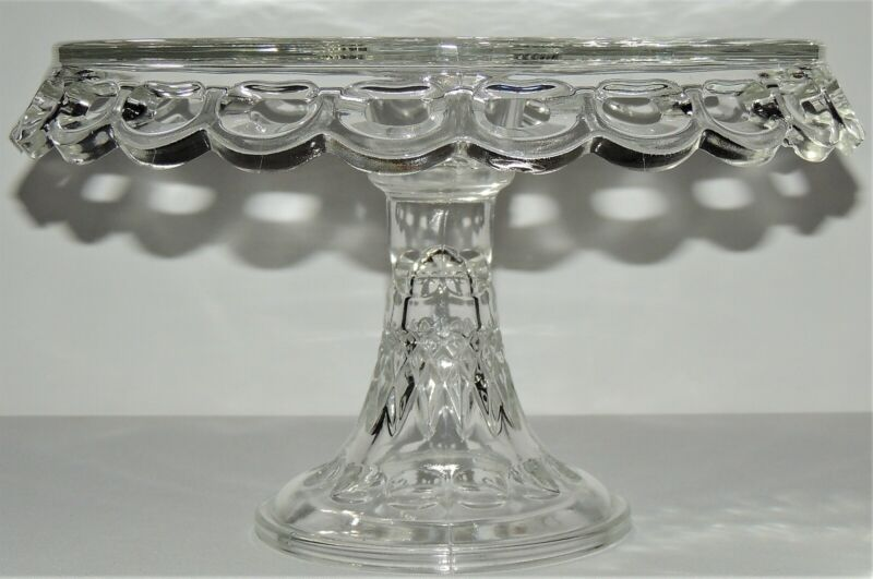 Stunning Vintage McKee Plymouth Lace CAKE STAND w/ RUM WELL Pedestal Glass Plate