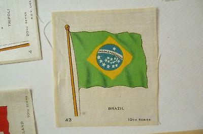 B.D.V. Cigarettes Silk FLAG- BRAZIL FLAG, 10th Series (7x6 cm)