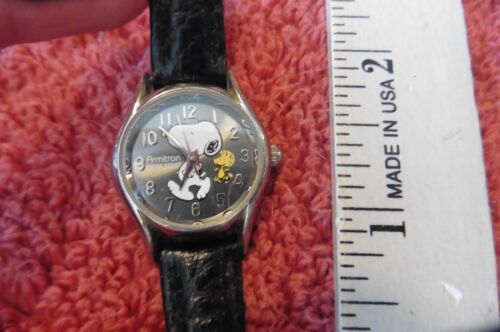VINTAGE Peanuts Snoopy Woodstock Watch Armitron Black Leather Band NOT RUNNING