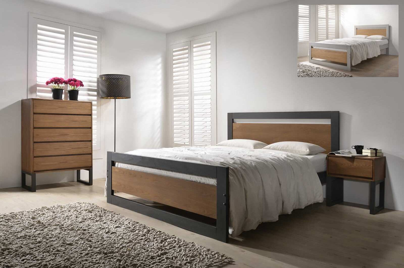 Picture of: Olivia Industrial Style Solid Wooden Bed Frame Modern Various Colours Sizes Ebay