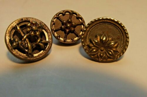 3 Small Victorian Metal Picture Buttons (1510)