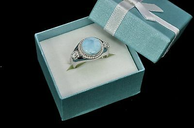 (Larimar 10mm Natural With White sapphire Accents Ring .925 Sterling Silver size7)