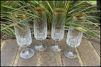 x4 Vintage Antique Gold Gilt Trim Cut Crystal Champagne Flutes Glasses Moser?