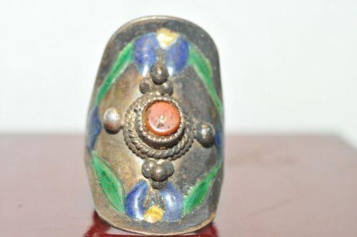 Vintage Handmade Ring Coral Enamel