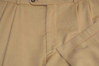 Hiltl Men's Golden Beige Superfine Wool Pleated Dress Pants 36 x 28