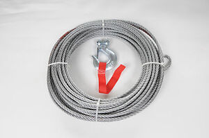 WINCH WIRE ROPE AND HOOK 15 Metres x 9.5mm recovery / offroad NEW
