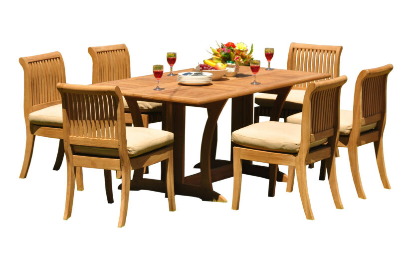 """7 Pc Teak Dining Set Garden Outdoor Patio 69"""" Console Table 6 Giva Armless Chair"""
