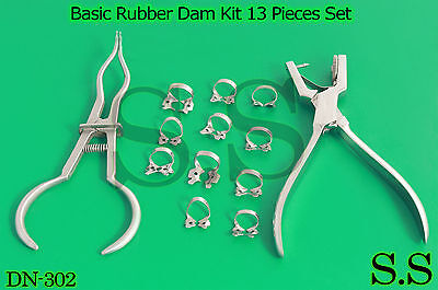Basic Rubber Dam Kit 13 Pieces Set Dental Surgical Instruments Dn-302