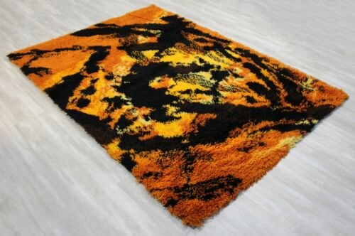 Mid Century Modern Black & Orange Rya Wool Shag Area Rug Carpet 1970s England