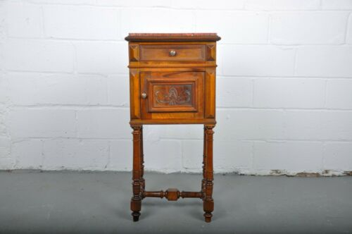 1920's French Oak Nightstand with Red Marble Top