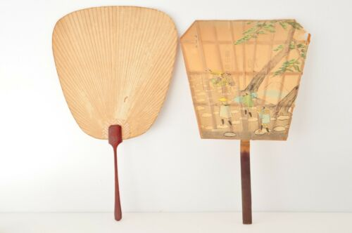 Japanese Vintage Paper Fan Uchiwa with Wooden Handle