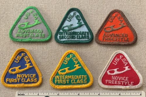 Vintage 1960s Lot of 6 USFSA Figure Skating Award Badge PATCHES Skate Program