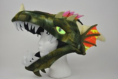 NEW Adult Costume Cosplay DRAGON HEAD OSFM Green Orange Plush (Dragon Horn Kostüm)
