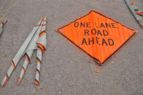 ONE LANE ROAD AHEAD TRAFFIC CONSTRUCTION FLURESCENT VINYL ROAD SIGN  48 X 48