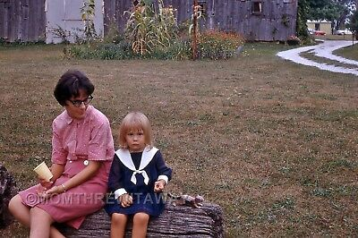 1967 COLOR SLIDE 1464 Ohio Sweet Little Blonde Girl with Mother Sitting on Log