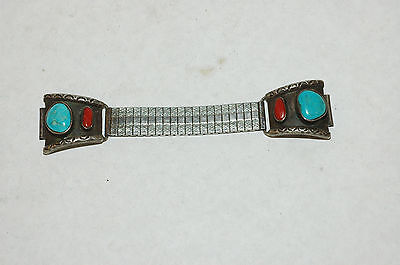 Vintage Turquoise Coral Watch Tips Sterling Silver.