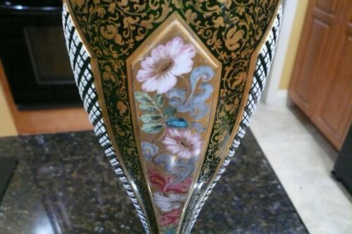 ANTIQUE BOHEMIAN MOSER VASE, GREEN / WHITE OVERLAY / GOLD / H.P. FLOWERS