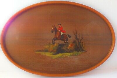 VINTAGE WOODEN TRAY with HAND PAINTED HUNT SCENE.