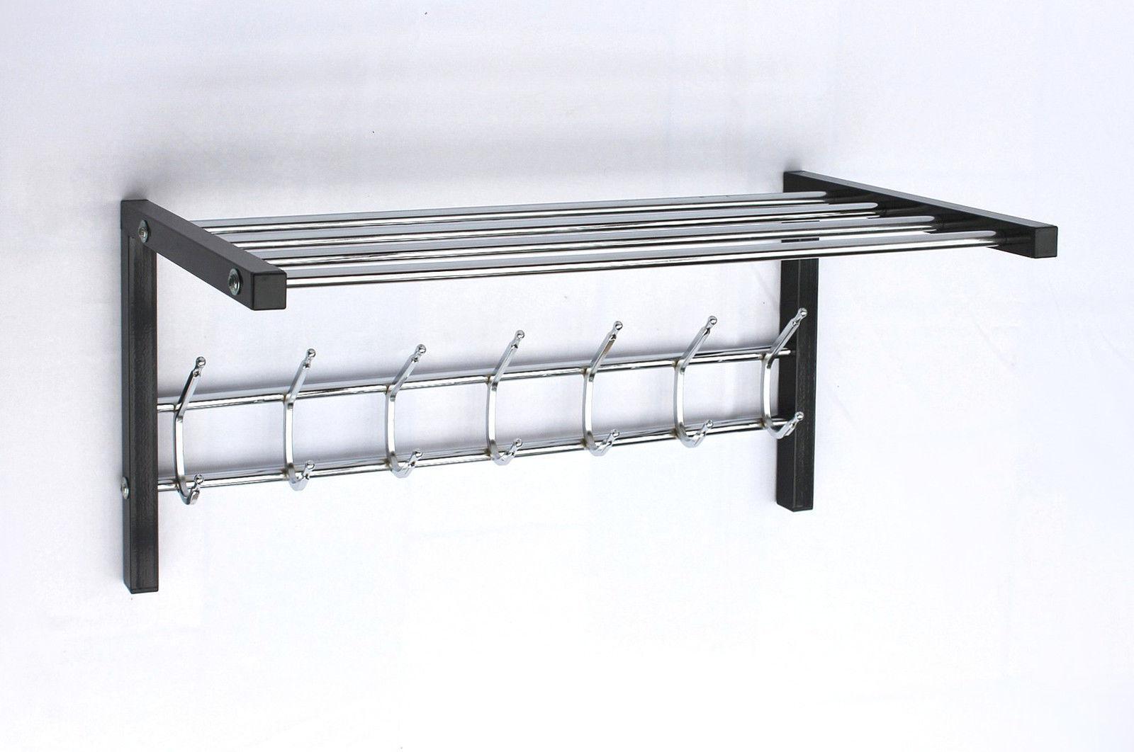 wandgarderobe mit hutablage garderobe 70 cm kleiderhaken wandregal haken eur 59 99. Black Bedroom Furniture Sets. Home Design Ideas