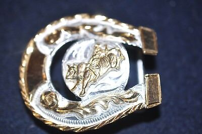 - NEW Silver Strike Horseshoe Bull Rider Western Belt Buckle Small Ladies AB29