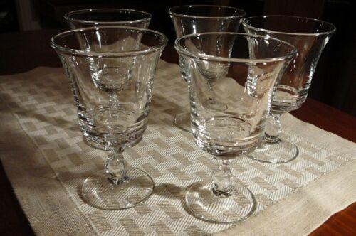 5 Vintage 1965 Fostoria Century Crystal Water Wine Goblet Clear Glass Stems + 1