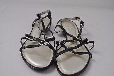 TALBOTS women's strappy sandals black patent leather 8B buckle CUTE - Patent Leather Buckle Sandals