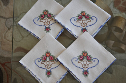 """Vintage 20s Embroidered Tablecloth Topper 32"""" Square + 4 Napkins BoHo Chic!"""
