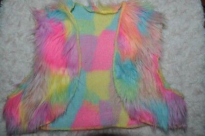 Weissman FAUX FUR VEST NEON MULTI COLOR Dance Costume RETRO CHILD GIRLS SIZE lC