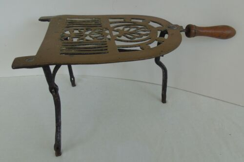 Antique Footman Trivet Hearth Long Legs Brass Bronze Wood Handle