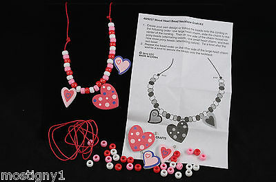 Kids Crafts – Valentine Heart Necklace Craft Kit – 3 Kits Value Pack Heart Necklace Craft Kit