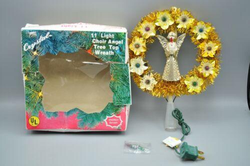 Vintage 1984 Choir Angel Lighted Gold Wreath Tree Topper in Original Box WORKS