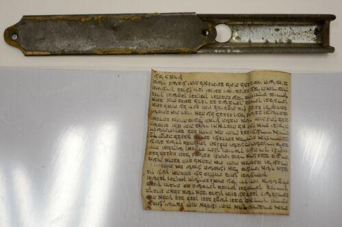 Miniature Tiny Mezuzah Prayer Scroll Pendant Hand Written Parchment Jewish Vtg