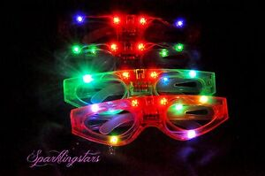 12pcs Light-Up LED Flashing Glasses Rave Sunglasses Blinking Rave Glasses EDC