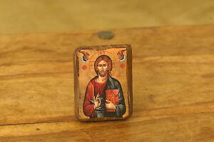 Icon of Jesus Christ, Greek Russian Christian Orthodox, Made of Wood
