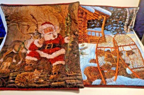 """Quilted Pillow Covers Set of 2 Christmas Memories 20""""x17"""" Handmade"""