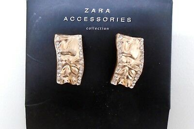New ZARA Gold Rhinestone Party Stylish fashion Statement Earrings 700