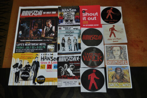 Lot of Hanson Stickers and Flyers, The Walk, Shout It Out, Use Your Sole!