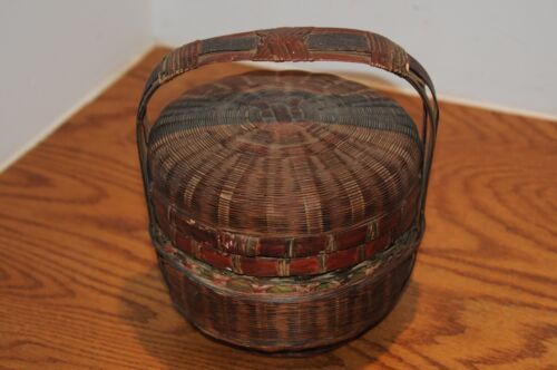 Antique Vintage Chinese Basket W/ Handle Very Old Asian Antiques China Baskets..