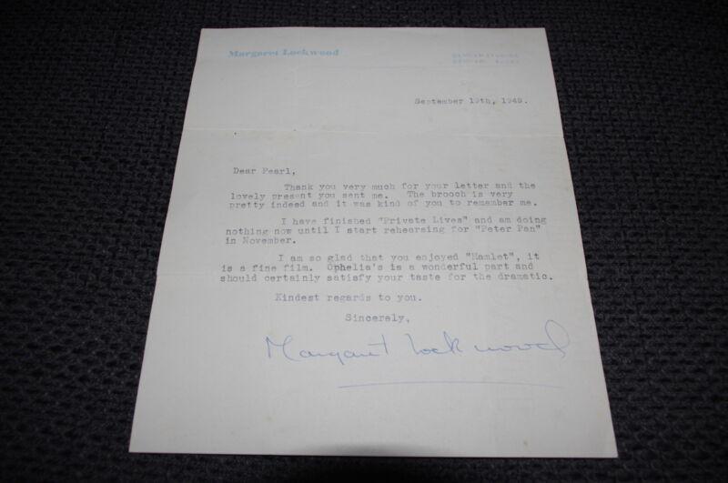 MARGARET LOCKWOOD (+ 1990) signed Autogramm auf 17x20 cm Brief LOOK